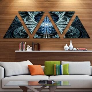 Designart 'Glowing Blue Fabulous Fractal Art' Contemporary Triangle Canvas Art Print - 5 Panels