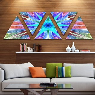 Designart 'Multi Color Pink Fractal Stained Glass' Contemporary Triangle Canvas Art Print - 5 Panels