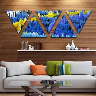 Designart 'Macro Render Structure Blue Yellow' Canvas Art Print - Triangle 5 Panels