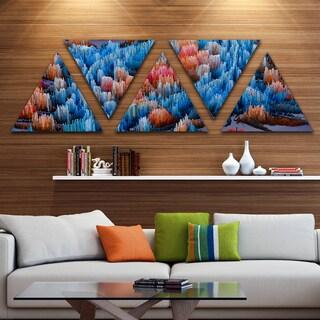 Designart 'Macro Render Structure Blue Red' Canvas Art Print - Triangle 5 Panels