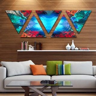 Designart 'Blue Fractal Circles and Waves' Contemporary Triangle Canvas Art Print - 5 Panels
