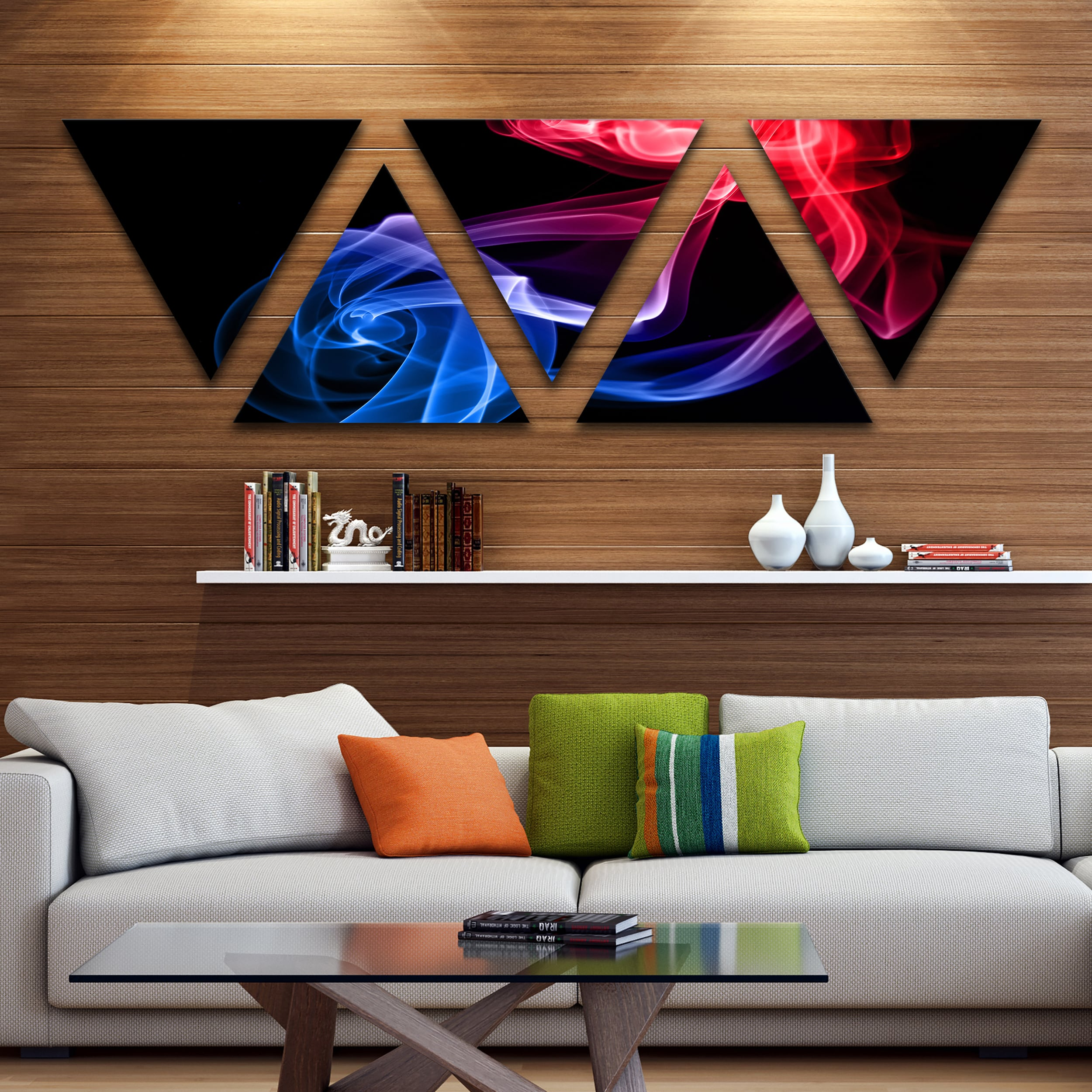 Shop Black Friday Deals On Designart Blue Red Floating Smoke On Black Large Contemporary Canvas Wall Art Triangle 5 Panels On Sale Overstock 17007010