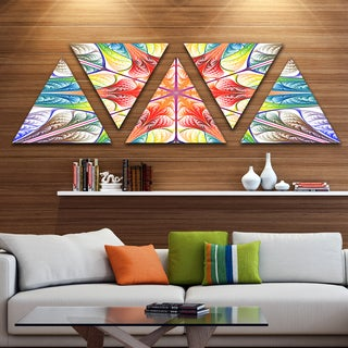 Designart 'Multi Color Fractal Circles and Waves' Contemporary Triangle Canvas Art Print - 5 Panels