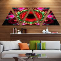 Designart 'Pink Wavy Curves and Circles' Contemporary Triangle Canvas Art Print - 5 Panels