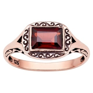 Viducci 10k Rose Gold Vintage Style Genuine Garnet Scroll Ring (3 options available)