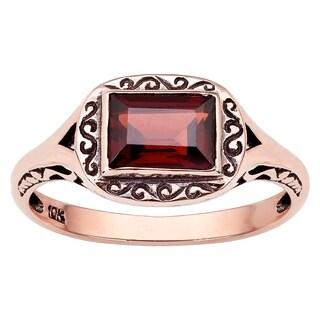 Viducci 10k Rose Gold Vintage Style Genuine Garnet Scroll Ring