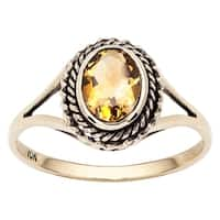 Viducci 10k Yellow Gold Vintage Style Genuine Citrine Split-Shank Ring