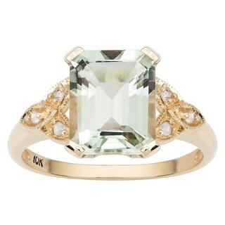 Viducci 10k Yellow Gold Vintage Style Green Amethyst And Diamond Ring