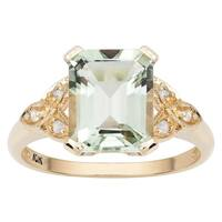 Viducci 10k Yellow Gold Vintage Style Green Amethyst and Diamond Ring