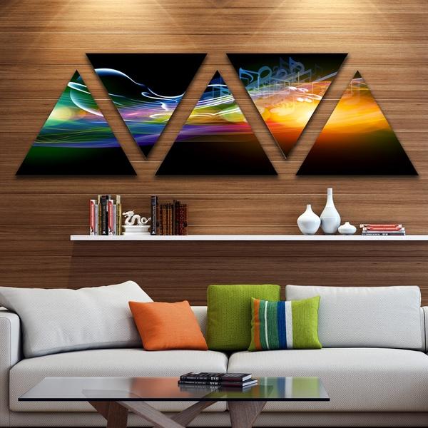 Designart 'Waves of Music Fractal Design' Contemporary Canvas Wall Art Print - Triangle 5 Panels