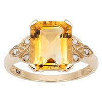 Viducci 10k Yellow Gold Vintage Style Citrine and Diamond Accent Ring
