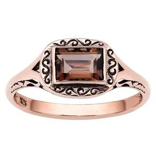 Viducci 10k Rose Gold Vintage Style Smoky Quartz Scroll Ring