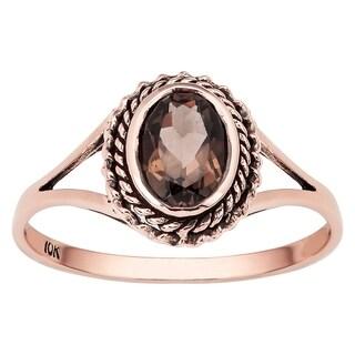 Viducci 10k Rose Gold Vintage Style Smoky Quartz Split-Shank Ring