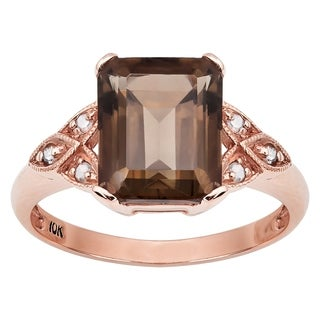 Viducci 10k Rose Gold Vintage Style Smoky Quartz and Diamond Ring (More options available)