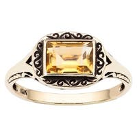 Viducci 10k Yellow Gold Vintage Style Genuine Citrine Scroll Ring