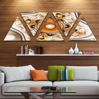 Designart 'Fractal Circles and Wavy Curves' Contemporary Triangle Canvas Art Print - 5 Panels