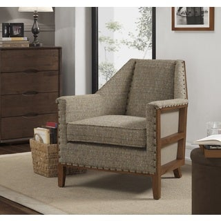 Hobert Mineral Fabric and Rubberwood Upholstered Mid-century Deconstructed Armchair
