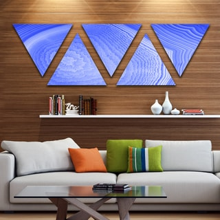 Designart 'Dark Blue Agate Structure' Contemporary Canvas Art Print - Triangle 5 Panels