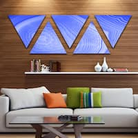 Designart 'Dark Blue Agate Structure' Contemporary Canvas Art Print - Triangle 5 Panels