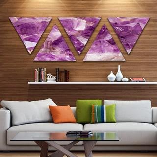 Designart 'Purple Amethyst Macro' Contemporary Triangle Canvas Wall Art Print - 5 Panels