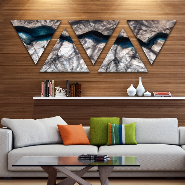Designart backlit mineral macro contemporary triangle canvas wall art
