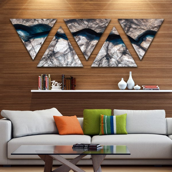 Designart 'Backlit Mineral Macro' Contemporary Triangle Canvas Wall