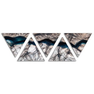 Designart 'Backlit Mineral Macro' Contemporary Triangle Canvas Wall Art Print - 5 Panels