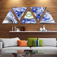 Designart 'Blue on White Pattern with Circles' Contemporary Triangle Canvas Wall Art - 5 Panels