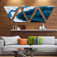 Strick & Bolton 'Blue Brazilian Geode' Contemporary Triangle Canvas Wall Art Print - 5 Panels