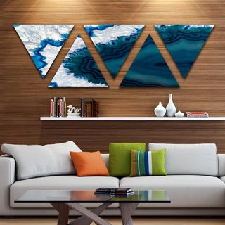 Designart 'Blue Brazilian Geode' Contemporary Triangle Canvas Wall Art Print - 5 Panels