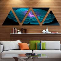 Designart 'Contemporary Blue Floral Fractal Background' Extra Large Floral Wall Art - Triangle 5 Panels