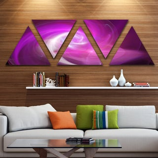 Designart 'Pink Fractal Contemporary Illustration' Contemporary Triangle Canvas Wall Art - 5 Panels
