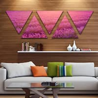 Designart 'Lavender Field and Ray of Light' Floral Triangle Canvas Art Print - 5 Panels - Multi-color