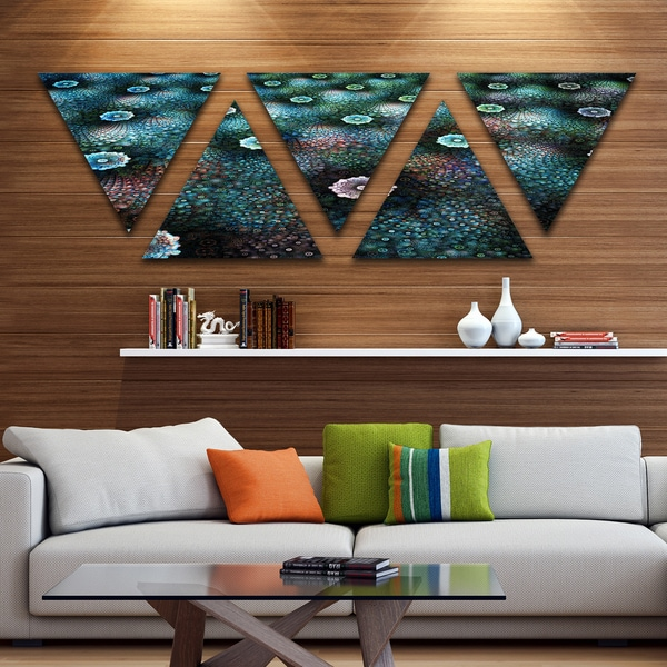 Designart 'Blue Flowers on Alien Planet' Floral Triangle Canvas Art Print - 5 Panels