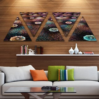 Designart 'Brown Flowers on Alien Planet' Floral Triangle Canvas Art Print - 5 Panels