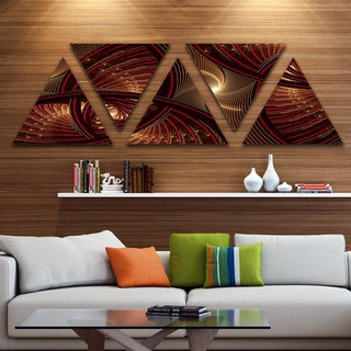 Link to Designart 'Brown Symmetrical Fractal Pattern' Floral Triangle Canvas Art Print - 5 Panels - Brown Similar Items in Matching Sets