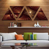 Designart 'Brown Symmetrical Fractal Pattern' Floral Triangle Canvas Art Print - 5 Panels - Brown