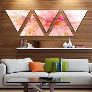 Designart 'Pink Fractal Contemporary Illustration' Contemporary Triangle Canvas Art Print - 5 Panels