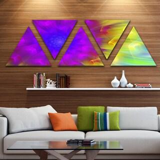 Designart 'Purple Fractal Petals Dandelion' Floral Triangle Canvas Art Print - 5 Panels