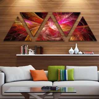 Designart 'Pink on Black Fractal Illustration' Contemporary Triangle Canvas Art Print - 5 Panels