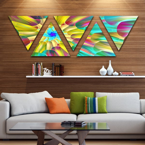 Designart 'Multi Color Stained Glass Spirals' Floral Triangle Canvas Art Print - 5 Panels - Multi-color
