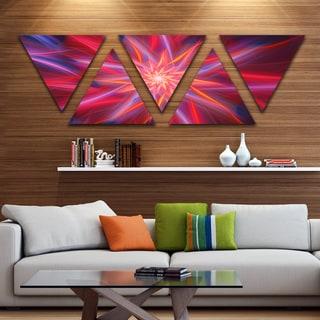 Designart 'Shining Red Purple Exotic Flower' Floral Triangle Canvas Art Print - 5 Panels