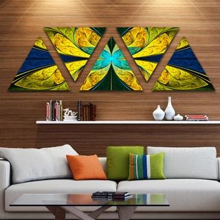 Designart 'Bright Yellow Blue Fractal Flower' Floral Triangle Canvas Art Print - 5 Panels