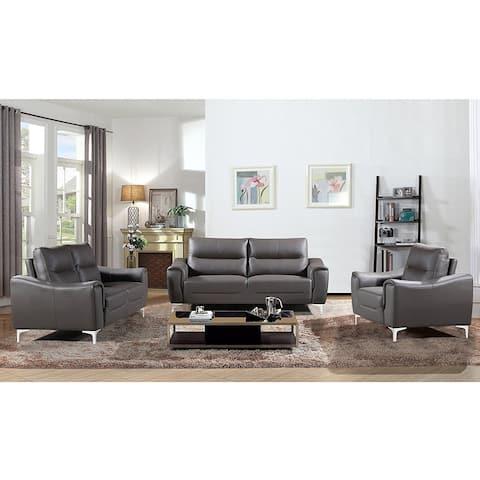 Strick & Bolton Vicente Modern Style Grey Leather Gel 3-piece Living Room Sofa Set