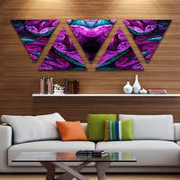 Designart 'Purple Cold Mystical Heart' Floral Triangle Canvas Art Print - 5 Panels