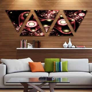 Designart '3D Surreal Brown Illustration' Floral Triangle Canvas Art Print - 5 Panels