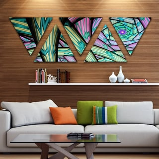 Designart 'Purple Fractal Endless Tunnel' Contemporary Triangle Canvas Artwork - 5 Panels
