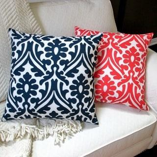Artisan Pillows 18-inch Indoor/Outdoor Modern Geometric Damask in Orange or Navy Blue - Throw Pillow (Set of 2)
