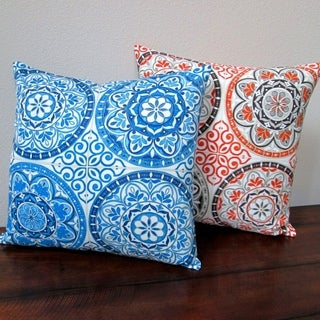 18-inch Indoor/Outdoor Modern Spanish Moroccan Color Wheel Circles in Indigo Blue or Orange - Pillow Cover Only (Set of 2)