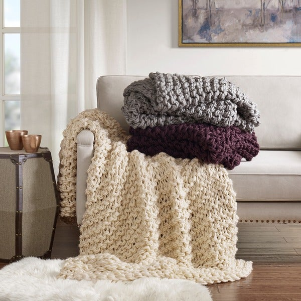 madison park handmade chunky cable knit throw 3 color option - Cable Knit Throw